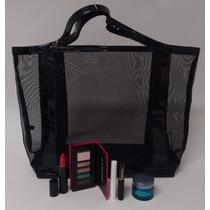 Lancome Bolsa Preta Com 5 Produtos Faciais E Maquiagem
