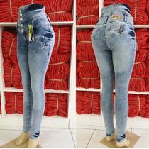 Calça Jeans Feminina Corpete Cintura Alta Com Laycra.