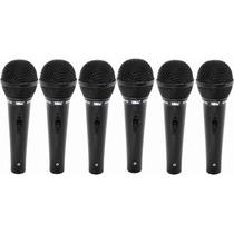 Kit 6 Microfone Fio Simples Unidirecional Jwl 4m Shure Sm-22