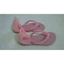 Havaianas Rosa Decorado, Modelo Sandálias Com Pérolas Rosas