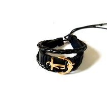Pulseira Bracelete Couro Ancora Nautica Masculino Feminino