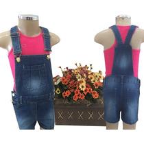 Macacão Jeans Infantil Feminino-camiseta Rosa Pink