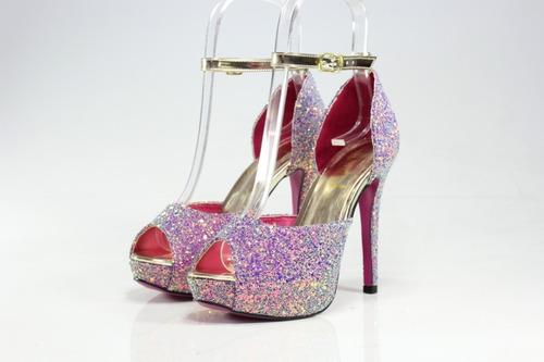 a7c7411c8d Sandália Salto Alto Week Shoes Glitter Furtacor Lilás