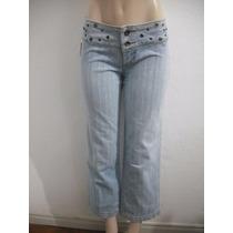 Calça Jeans Feminina Com Ilhoses Na Cintura, Tam 38 Retook