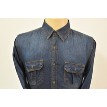 Camisa Jeans Tommy Masculina Cor Azul Escuro+