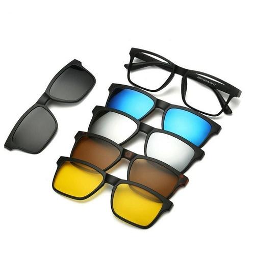 Armação Óculos 6 Em 1 + Clip On Sol E Noite Polarizado 2202a c24f983f8d