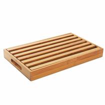 Tábua Para Pão Em Madeira Bambu Com Pegador Hercules Bmb15