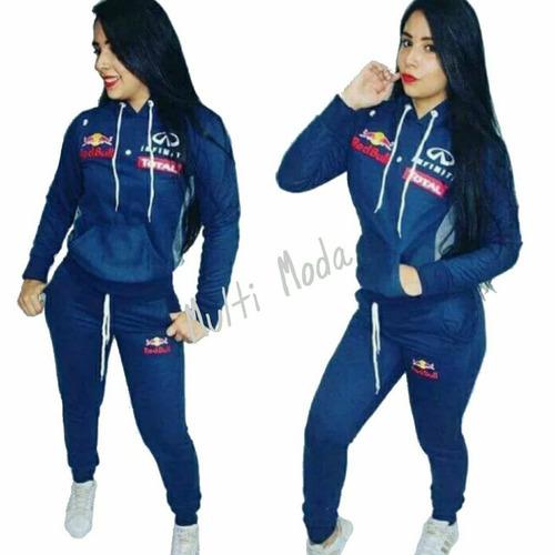 Conjunto Moletom Feminino Red Bull Moleton Blusa Calca Casac a640a33bf26