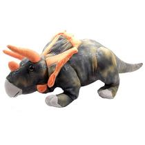 Dinossauro Triceratops Grande Marrom Bicho Pelucia