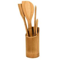 Jogo De 5 Talheres De Bambu, Com 1 Suporte Redondo De Bambu
