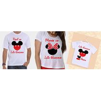 Camisetas Aniversário Pai, Mãe E Filho Mickey