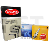 Kit Cabos Delphi + Velas Corsa Meriva Montana Agile 1.4 Flex