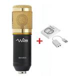 Kit Microfone Condensador Bm800 Dourado + Placa Usb + Nfe