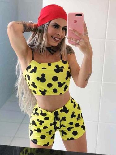 f07d819e2612d4 Conjunto Short E Cropped Mickey Batedeira Personagem à venda em Vila ...
