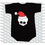 Body Bebe Natal Caveira Com Gorro Papai Noel Moderno Rock