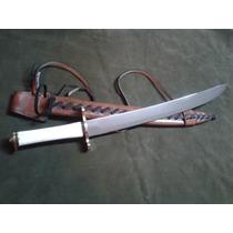 Espada Forjada C/aço Carbono 1075 Cabo De Osso, Bainha Couro