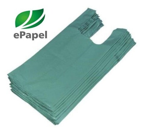 1.000 Sacola Plástica Média 38x48 - Reciclada Verde D22 Fina