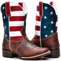Bota Texana Eua Country Couro Peão Cowboy Bandeira America