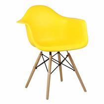 Cadeira Charles Eames Eiffel C/ Braço (ellen) Base Madeira