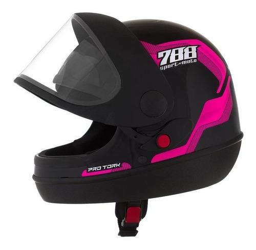 Capacete Para Moto Integral Pro Tork Sport Moto 788 Rosa Tamanho 56