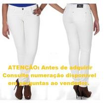 Calça Jeans Feminina Resinada Skinny Branca Sawary (231431)