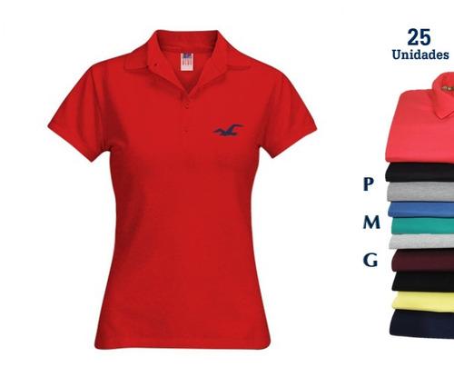 Camisa Polo Feminina Atacado Kit 25 Camisa Direto Da Fábrica ac40e42b8d1d5