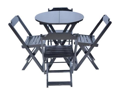 Jogos Mesa Bar Redondo 70 Cm Diâmetro Com 4 Cadeiras Madeira