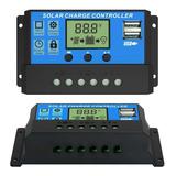 Controlador De Carga Painel Solar 30a 12e24v Com Lcd 2 Usb