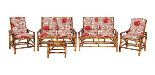 Conjunto De Sofá De Bambu Poltronas Cadeiras Vime 6 Lugares