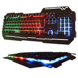 Teclado Gamer Luminoso Led  Colorido Base De Metal Dhj 539