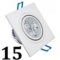 15 Spot Led Quadrada Branco Luz Branca Fria 3w Teto Sanca
