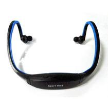 Fone De Ouvido Sem Fio Sport Mp3 Fm Usb Cartão Memoria Azul