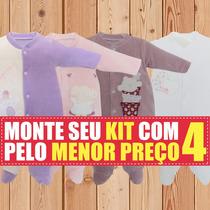Macacão Bebe Kit 4 Peças Tiptop Longo Presente Maternidade