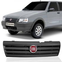 Grade Dianteira + Emblema Vermelho Fiat Uno Fire 05 06 07 08