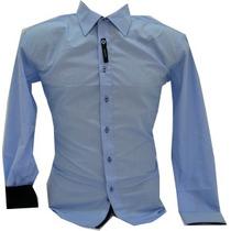 Camisa Slim Fit Luxo Social Gola Listra