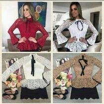 Blusa Camisa Feminina Renda Manga Longa E Gravata Deluxe