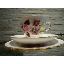 Lindo E Antigo Trio Chá Floral Inglês Royal Albert !!