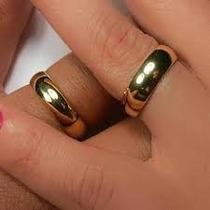 Par Aliança Aço Inox Dourada Banhada Ouro