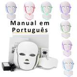 Mascara De Led 7 Cores Facial E Pescoço Fototerapia C Manual