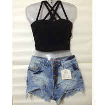 Conjunto Cropped + Short Jeans