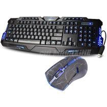 Kit Teclado Gamer Multimídia 3 Led + Mouse Gamer 3200 Dpi 6d