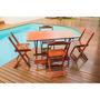 Conjunto Cadeira E Mesa Dobrável 120x70 Gourmet