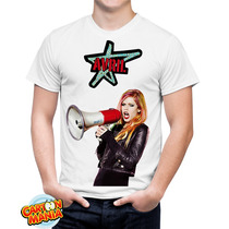 Camiseta Branca Avril Lavigne Pop Punk Rock