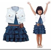 Vestido Jeans Com Colete Infantil Importado