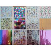 Kit Foil Com 98 Folhas Diferentes Decoração Unhas Gel Cola