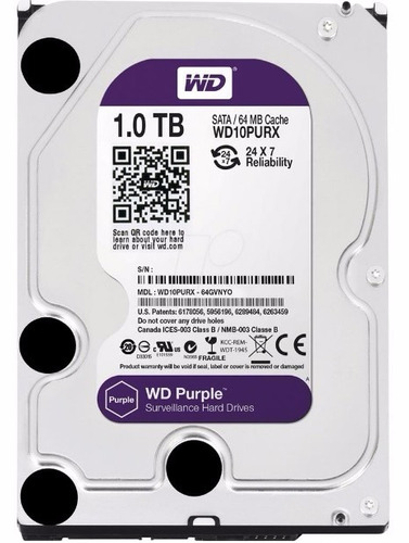 Hd 1tb Purple Western Interno Wd Para Cftv Dvr Wd10purx