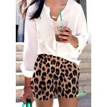 Shorts Fashion - Animal Print - Oncinha