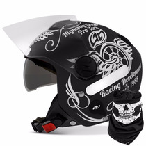 Capacete Aberto New Atomic Highway Dreams Preto Fosco Custom