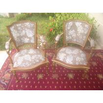Poltrona Cadeira Inglesa Entalhada Com Pintura Em Ouro