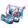 Kit Sapatilha Menina Infantil Disney Frozen Elsa Anna+bolsa